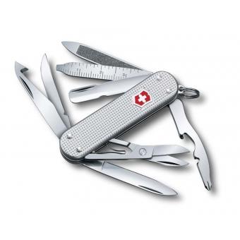 Нож-брелок VICTORINOX Mini Champ Alox, 58 мм, 15 функций, алюминиевая рукоять, серебристый