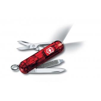 Нож-брелок VICTORINOX Swiss Lite, 58 мм, 7 функций, полупрозрачный красный